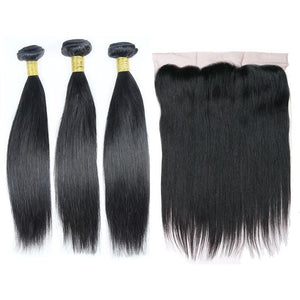 Brazilian Hair Bundles (3pcs) + Lace Frontal (1pc)  Straight