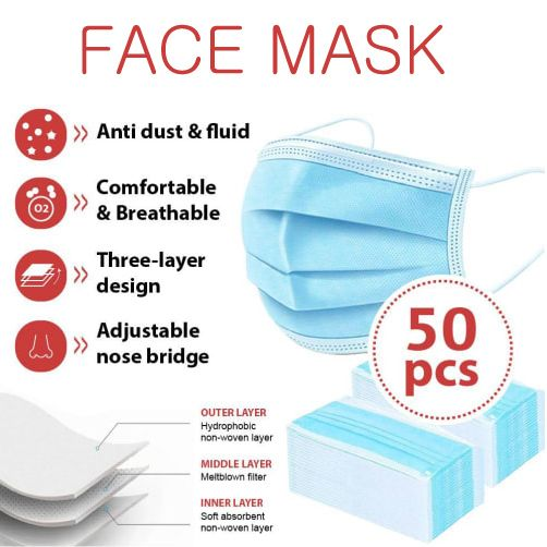 50pcs Disposable Surgical Mask 3-layer | Non-Medical (USA Stock)