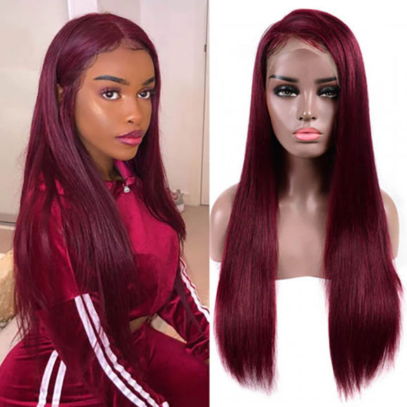 Clearance Sale 99J Burgundy Color 13x6 Lace Front Wigs Straight