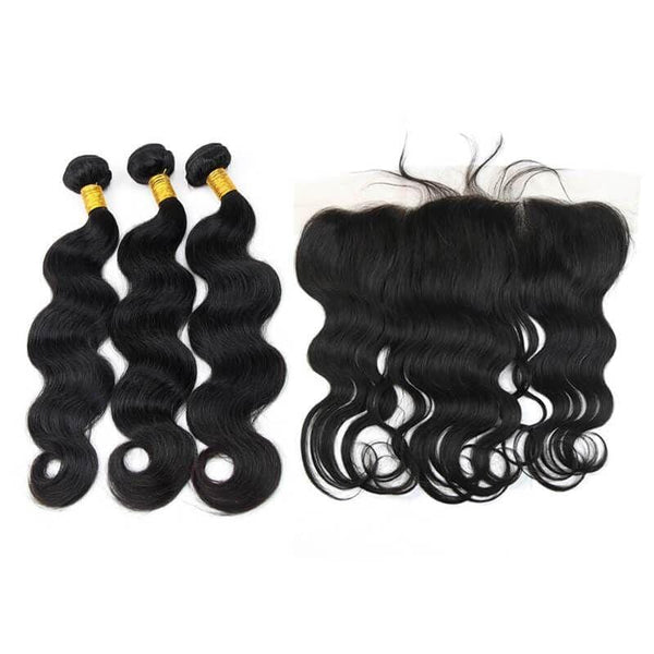 Brazilian Hair Bundles (3pcs) + Lace Frontal (1pc) Body Wave