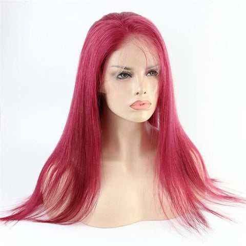 Claret Red  Color Full Lace Wig Silky Straight