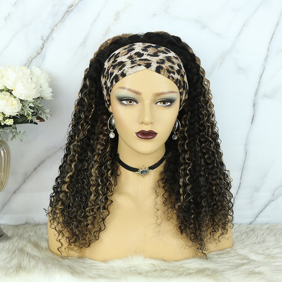 Lazy Girl Headband Wig Brazilian Hair Highlighted Ombre Color Deep Curly