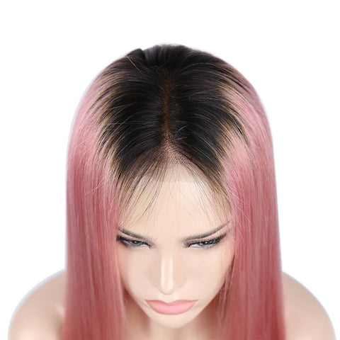 #1b/Pink Color Full Lace Wig Silky Straight