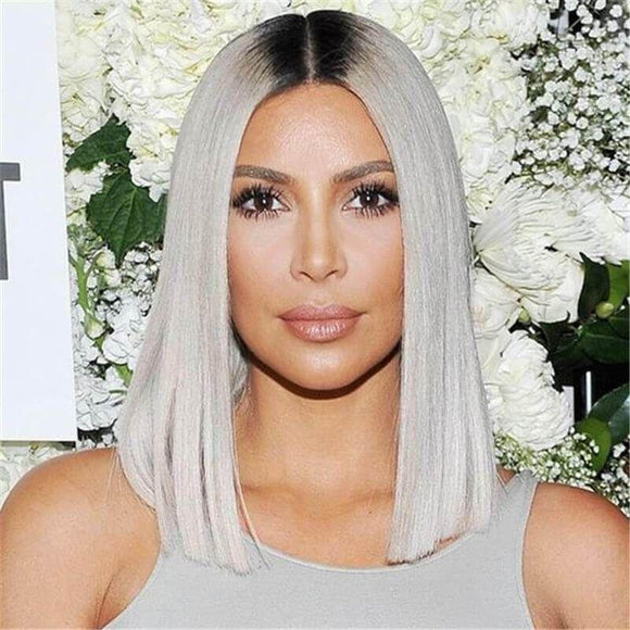 1B/Grey  Color Lace Front Wig BOB Wig Silky Straight