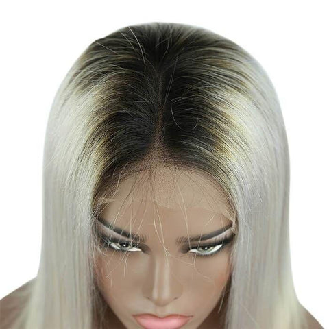 1B/Grey Color Bob Full Lace Wig Silky Straight