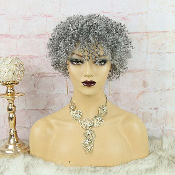 SALE:Full Machine Made Human Hair Bob Wig Sliver Grey Curly
