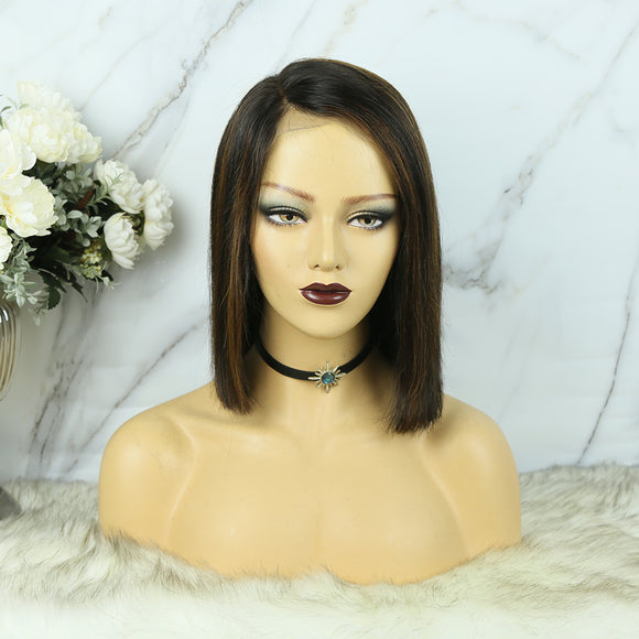360 Lace Frontal Bob Wig Highlighted Color Straight