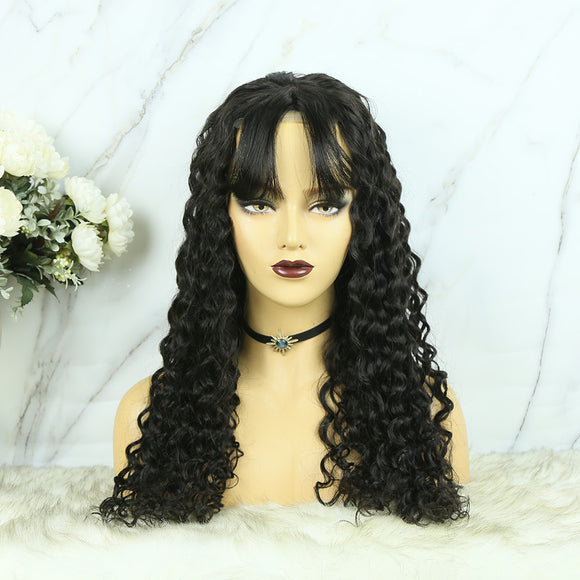 4x4 Lace Closure Wig With Bangs Loose Wave