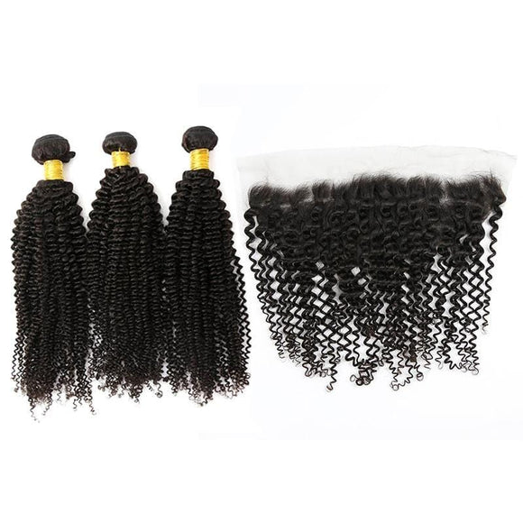 Brazilian Hair Bundles (3pcs) + Lace Frontal (1pc) Kinky Curl
