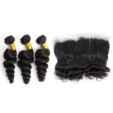 Brazilian Hair Bundles (3pcs) + Lace Frontal (1pc) Loose Wave