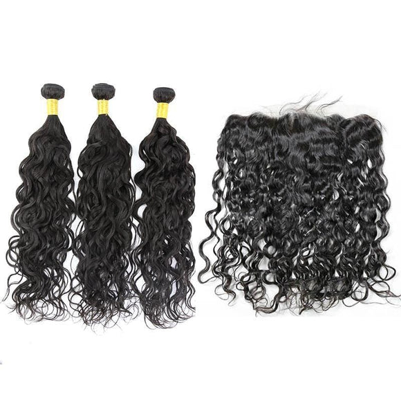 Brazilian Hair Bundles (3pcs) + Lace Frontal (1pc) Natural wave