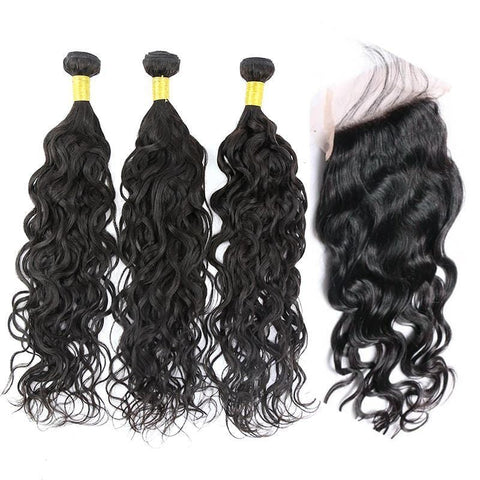 Brazilian Hair Natural  wave 3 Bundles +Closure