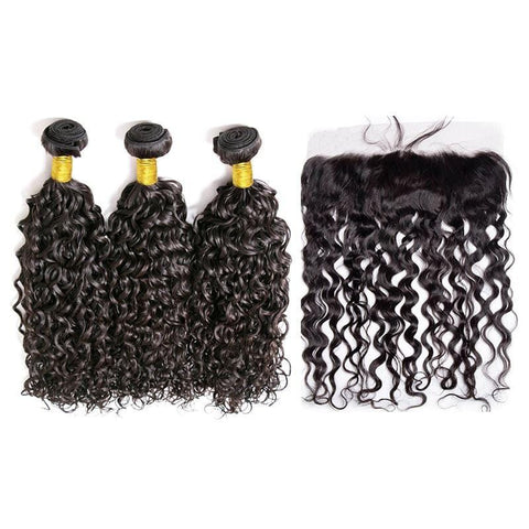 Brazilian Hair Bundles (3pcs) + Lace Frontal (1pc) Water Wave