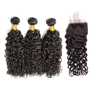 Brazilian Hair  Water wave  3 Bundles +Closure