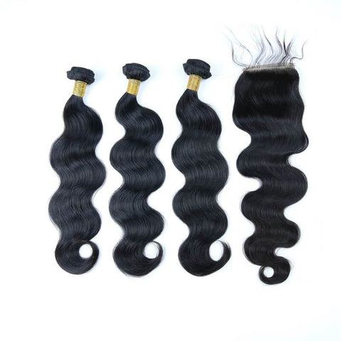 Brazilian Hair  Body wave 3 Bundles +Closure