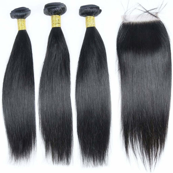 Brazilian Hair  Straight 3 Bundles +Closure
