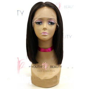 Pre-Made Glueless Fake Scalp 13X6  Lace Frontal  Short Bob Wig Silky Straight
