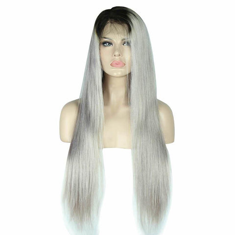 1B/Grey Color Full Lace Wig Silky Straight