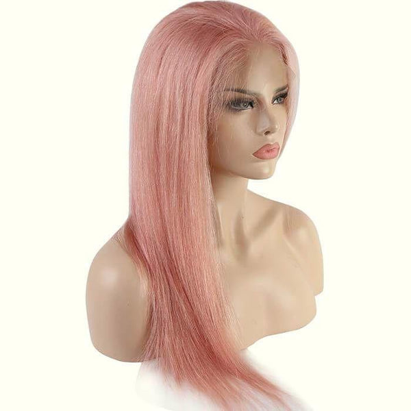 Pink Color Color Lace Front Wig Silky Straight