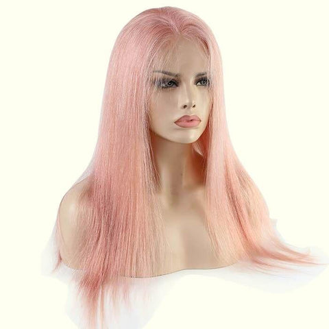 Pink Color Full Lace Wig Silky Straight
