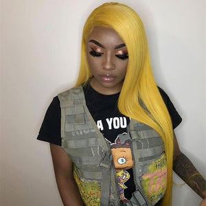 Bright Yellow  Color Lace Front Wig Silky Straight