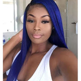 Sapphire Blue Color Lace Front Wig Silky Straight
