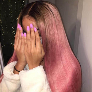#1b/Pink Color Lace Front Wig Silky Straight