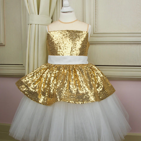 Festive girl dress with white tulle skirt and golden sequins - Girl dress for special occasions