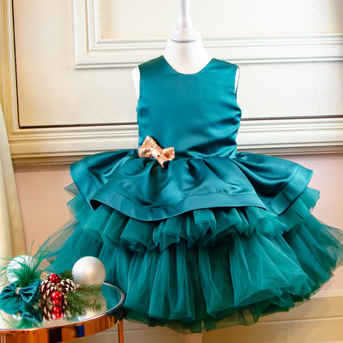 Emerald green festive girl dress special occasion