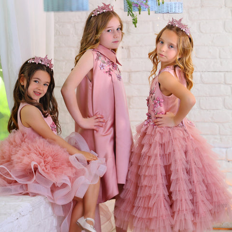 pink fancy girl dress with tulle skirt