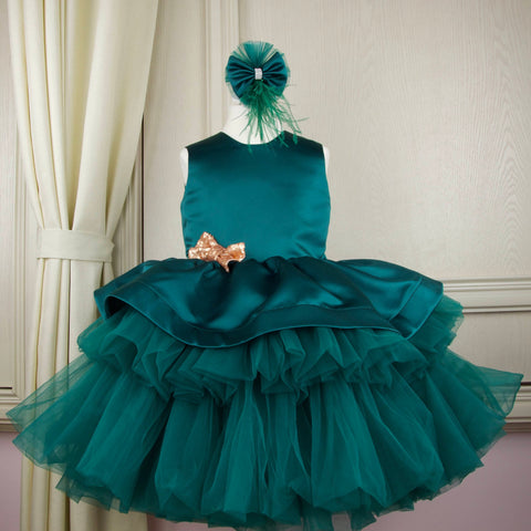 Emerald green festive girl dress for special occasions