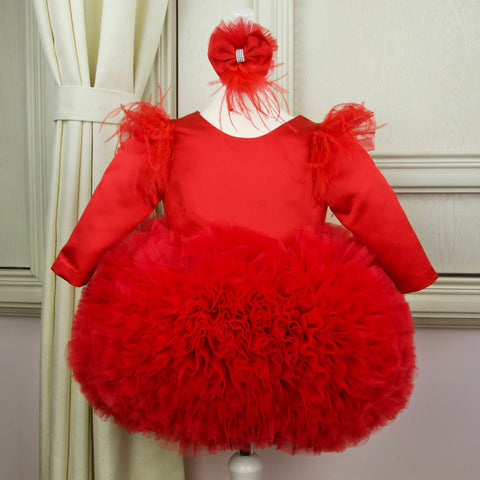 Short red festive girl dress for special occasions