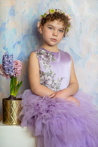 girl in a long purple dress for special occasions
