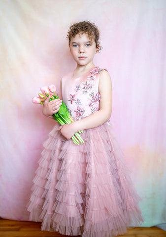 girl in a pink dress with multi layer skirt for special occasions