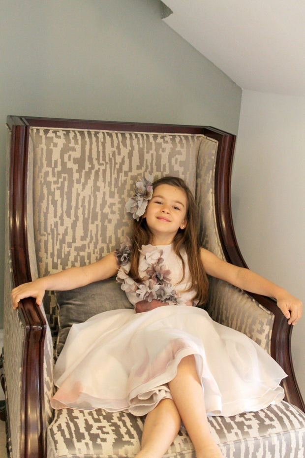 handmade, simple, elegant girl dress for special occasions, short tulle skirt, belt at the waist and 3D floral pattern, white, beige for flower girls, communion, party