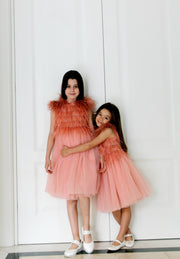 unique, handmade short girl party dress in apricot color, with feathers on the top, for special occasions, weddings, birthdays