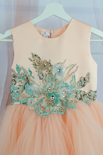 Customised apricot tulle dress with embellishment details
