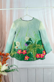 Handmade green felt fall jacket for girls with floral motifs