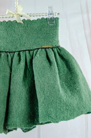 Handmade short forest green felt skirt for girls for fall