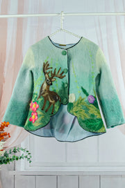 Handmade green felt fall jacket for girls with floral and deer motifs