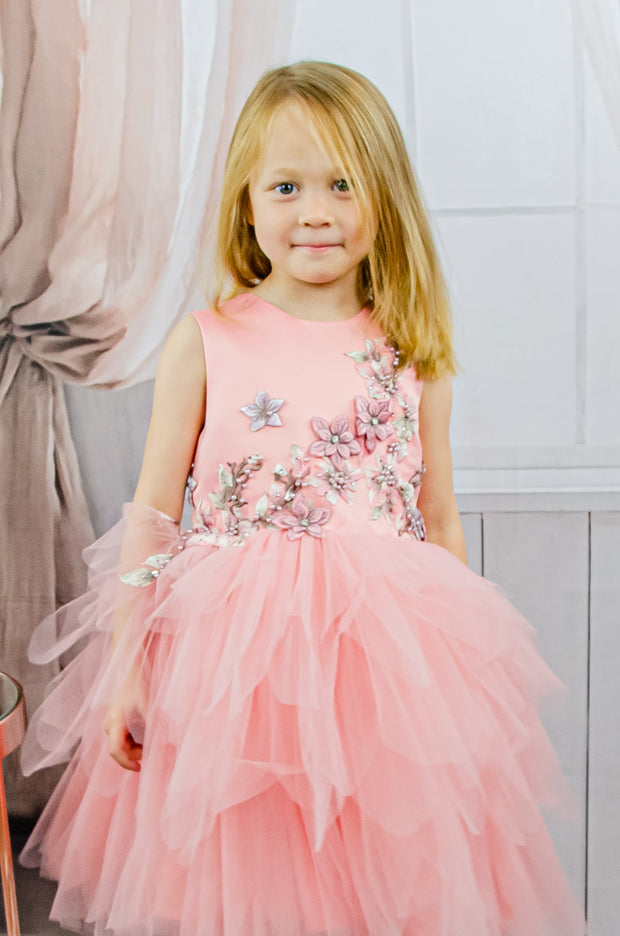 Handmade Short pink flower girl's princess dress with a multi-layered tulle skirt and floral embellishments