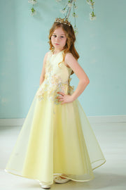 handmade long yellow A-line flower girl dress with a long tulle skirt and hand-embroidered top with flowers, pearls and rhinestones.
