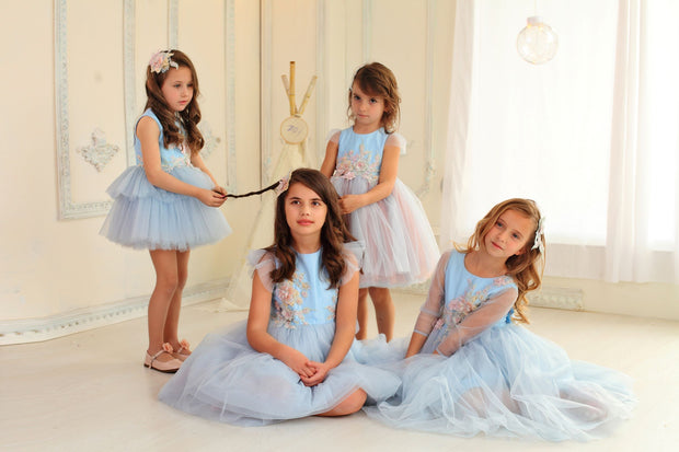 children's dress - princess dress - tulle dress - tulle skirt - children's clothes - wedding dress - blue dress
