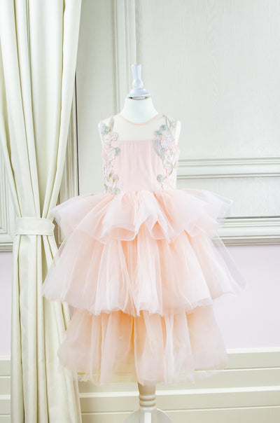 handmade, midi soft apricot tulle princess girl dress with multi-layer tulle skirt and floral embroidery