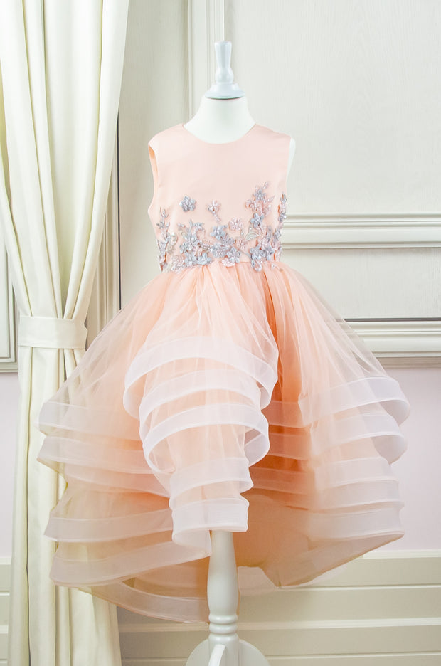 handmade, apricot princess girl dress with pastel floral embroidery, for flower girls