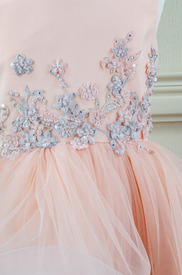 handmade ankle-lenght princess dress for girls in a soft peach color with a multi-layered tulle skirt and top embroidered with turquoise, mint flowers and rhinestones. flower girl dress, festive dress for girls