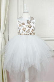 handmade, white flower girl dress with an asymmetrical tulle skirt, gold sequin embroidery, for weddings, communion, flower girls