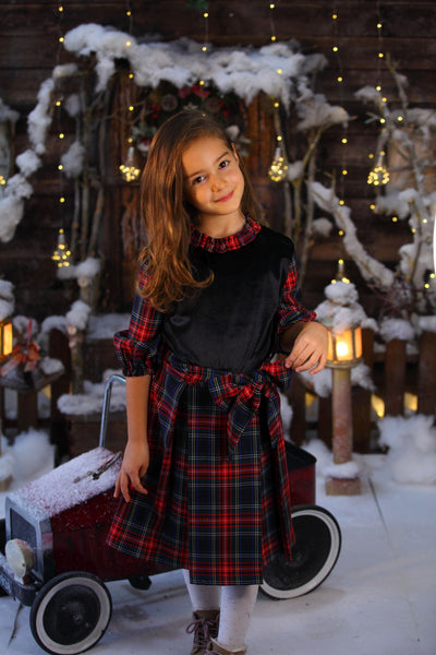 children's clothes - children's dresses - festive dress - christmas dress - girls dress - long sleeve dress - checkered dress