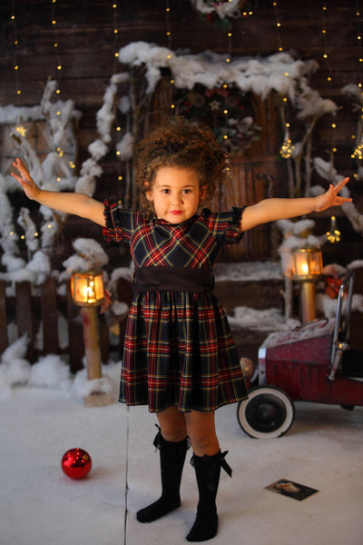 children's clothes - children's dresses - festive dress - christmas dress - girls dress - short sleeve dress - checkered dress