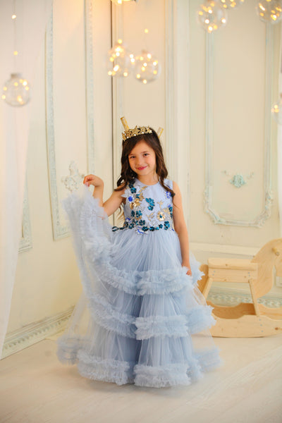 girl in the fancy dress for birthday party and other formal events